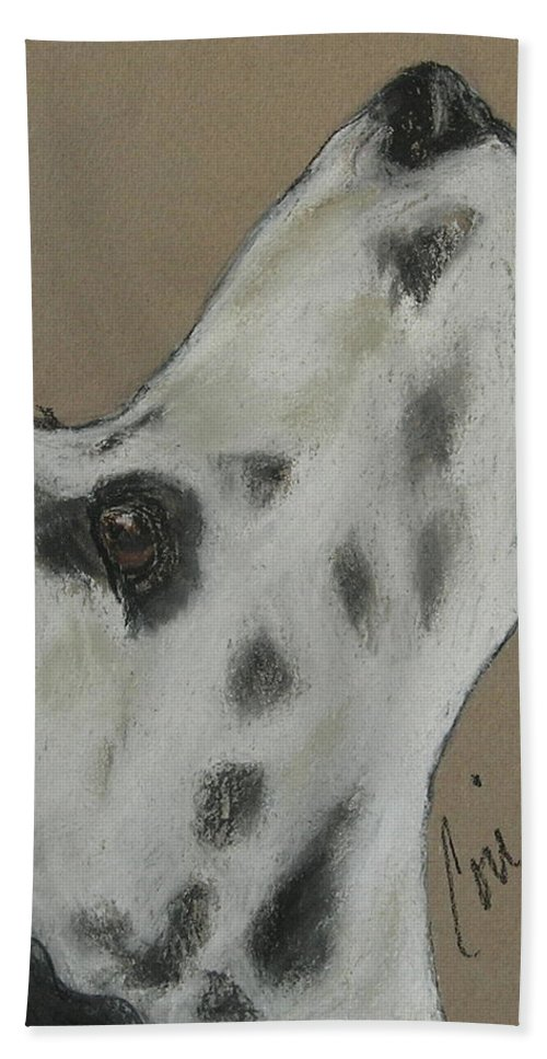 Dalmatian Bath Sheet featuring the drawing Highly Motivated by Cori Solomon