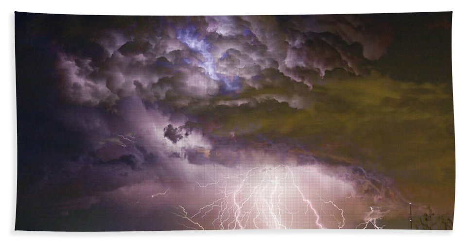 Colorado Lightning Hand Towel featuring the photograph Highway 52 Storm Cell - Two And Half Minutes Lightning Strikes by James BO Insogna