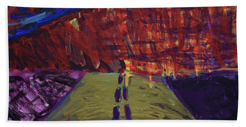 Wildfires Bath Sheet featuring the painting Highway To Hell by Aj Watson