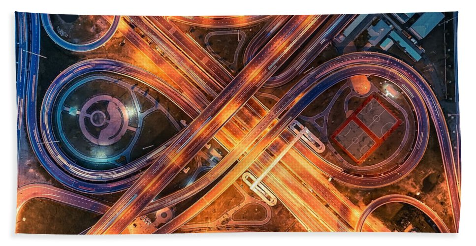 Highway Hand Towel featuring the digital art Highway by Zia Low