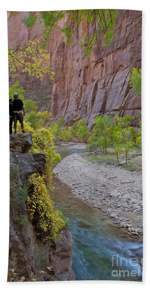 Zion National Park Bath Sheet featuring the photograph Hikers Zion National Park by Daryl L Hunter
