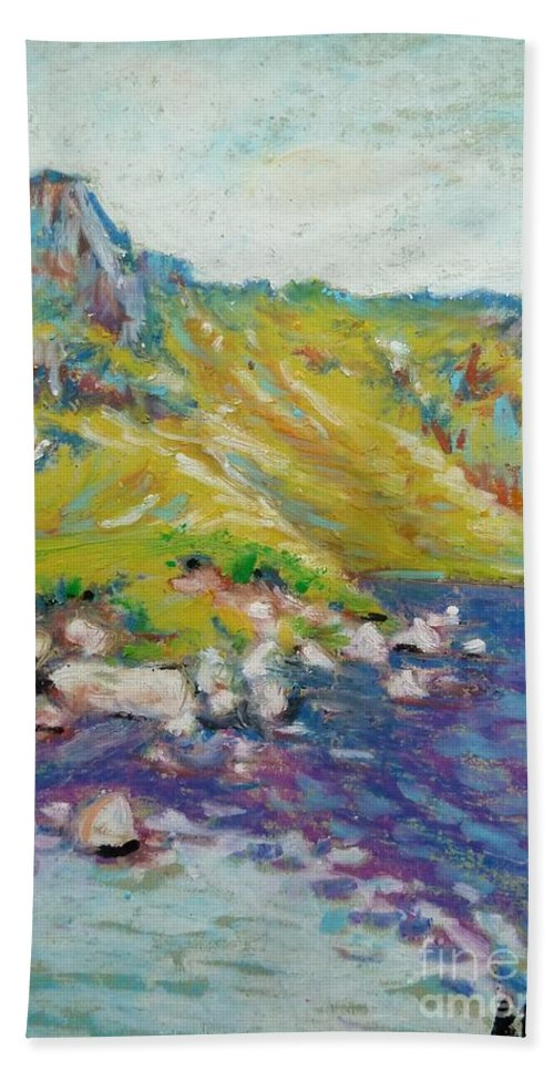 Landscape Bath Sheet featuring the pastel Hiking Near Windermere by K M Pawelec