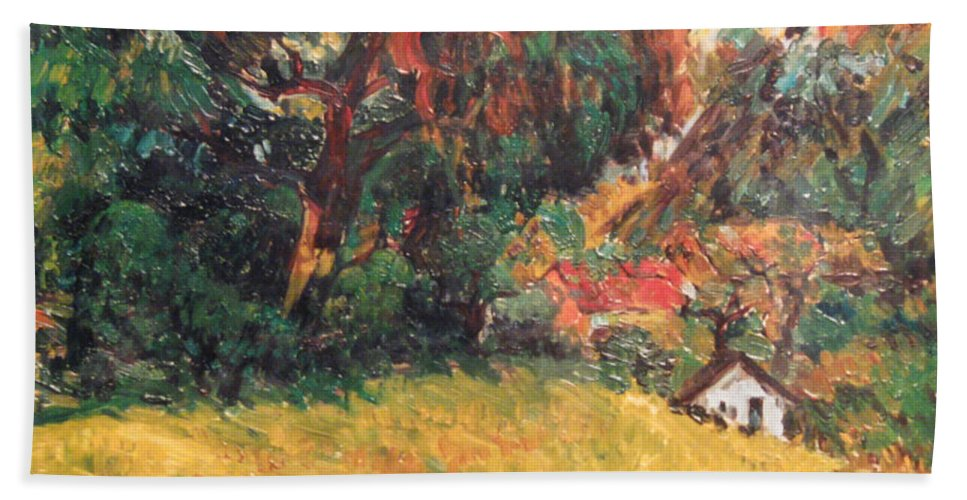 Tree Bath Towel featuring the painting On the Hill by Meihua Lu