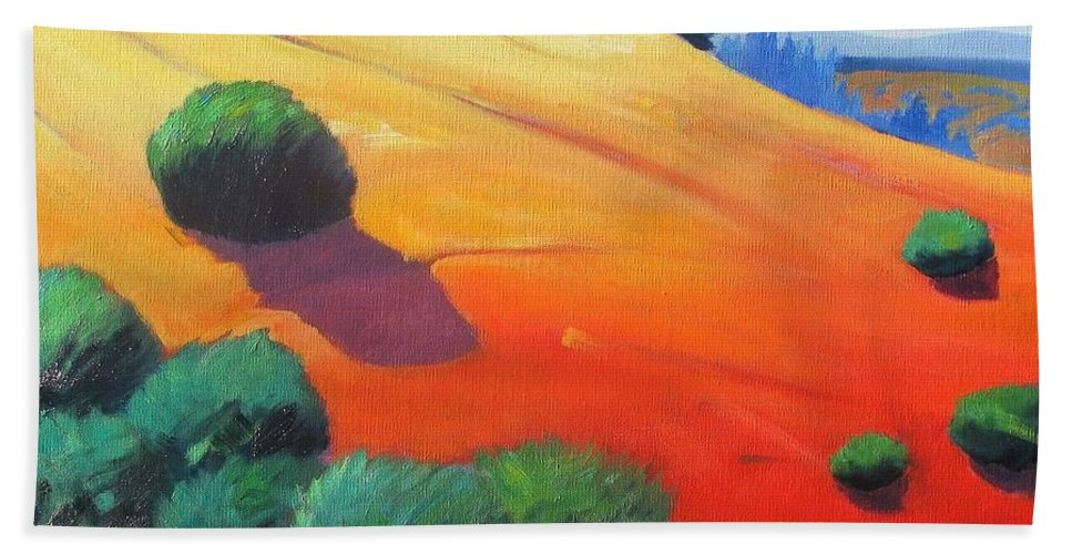Hills Hand Towel featuring the painting Hills And Beyond by Gary Coleman
