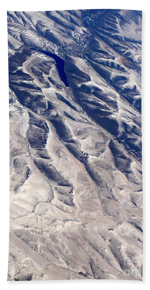 Aerial Bath Towel featuring the photograph Hills And Valleys Aerial by Carol Groenen