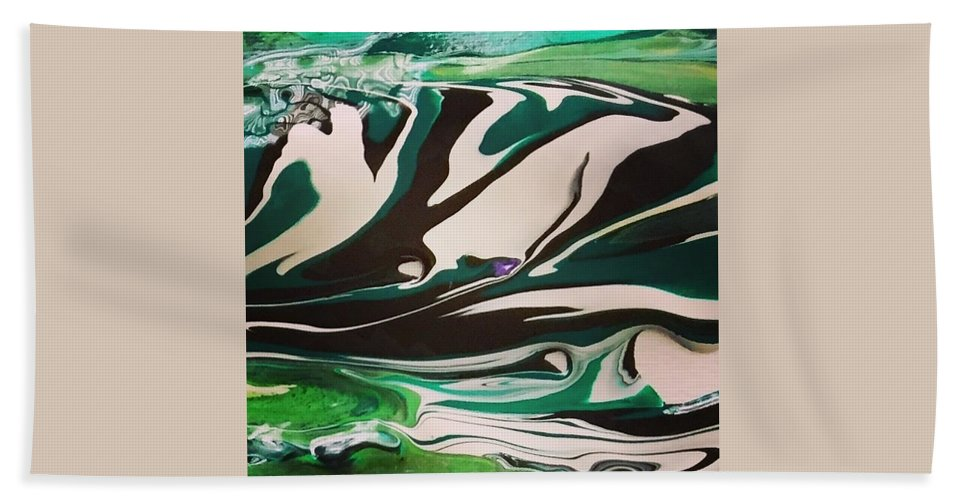 Abstract Art Hand Towel featuring the painting Hills by Dawn Sawyers