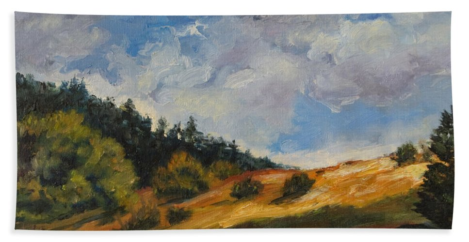 Hills Bath Towel featuring the painting Hills by Rick Nederlof
