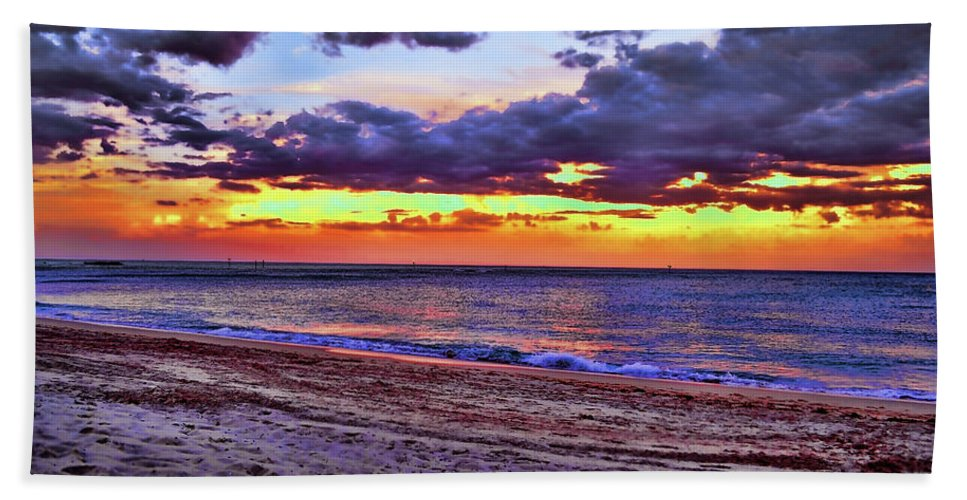 Delray Hand Towel featuring the photograph Hillsboro Beach Orange Sunset Hdr by Ken Figurski