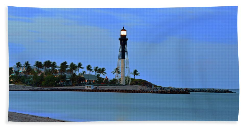 Delray Bath Sheet featuring the photograph Hillsboro Lighthouse Twilight Time by Ken Figurski