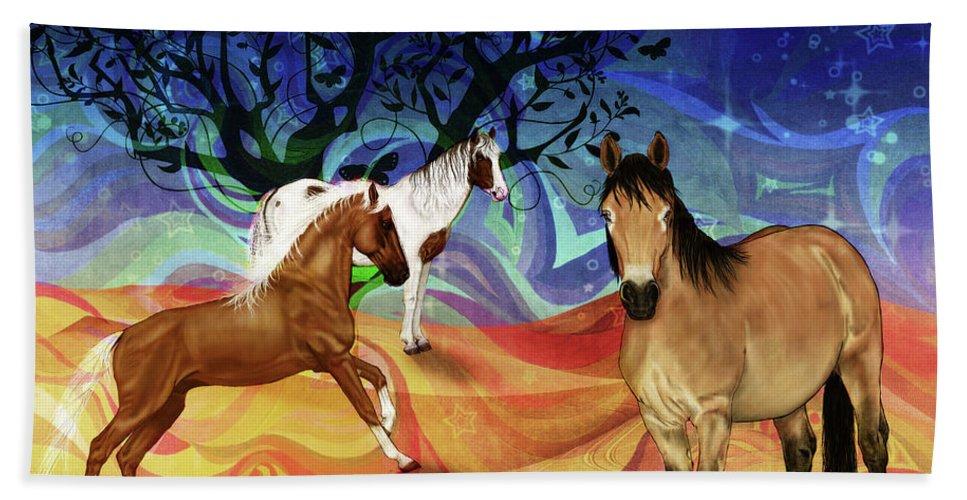 Horses Bath Sheet featuring the digital art Hillside Horses by KaFra Art