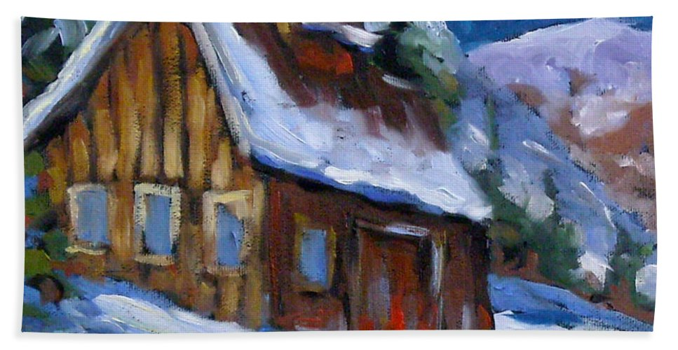 Art Bath Sheet featuring the painting Hillsidebarn In Winter by Richard T Pranke