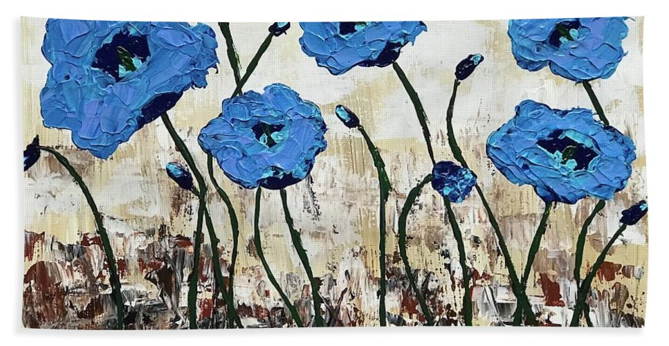 Poppy Bath Sheet featuring the painting Himalayan Blues by Christian Branson