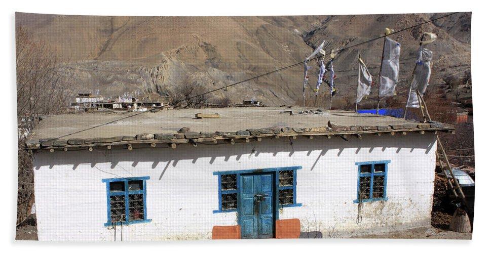 Himalayas Hand Towel featuring the photograph Himalayan Homestead, Muktinath, Nepal by Aidan Moran