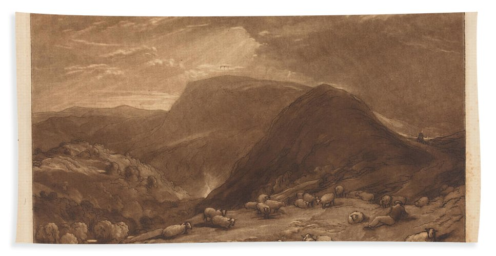 Hand Towel featuring the drawing Hind Head Hill by Joseph Mallord William Turner And Robert Dunkarton