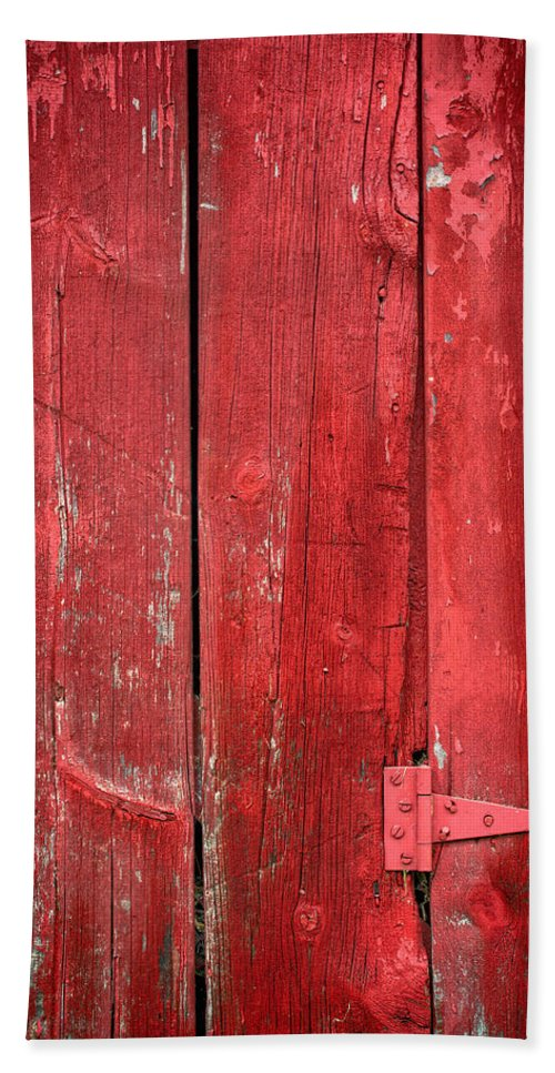 Red Hand Towel featuring the photograph Hinge On A Red Barn by Steve Gadomski