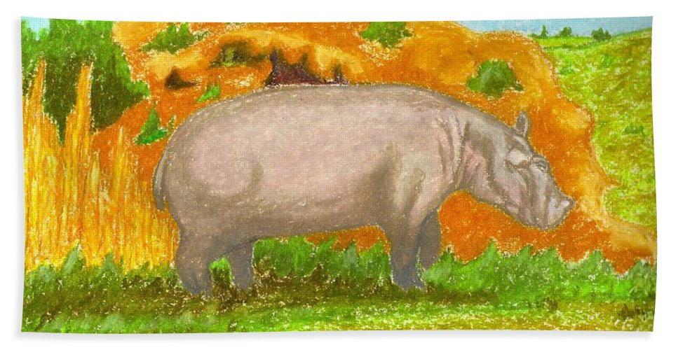 Hippopotamus Bath Sheet featuring the pastel Hippo In The Savanna by Ingrid Diaz
