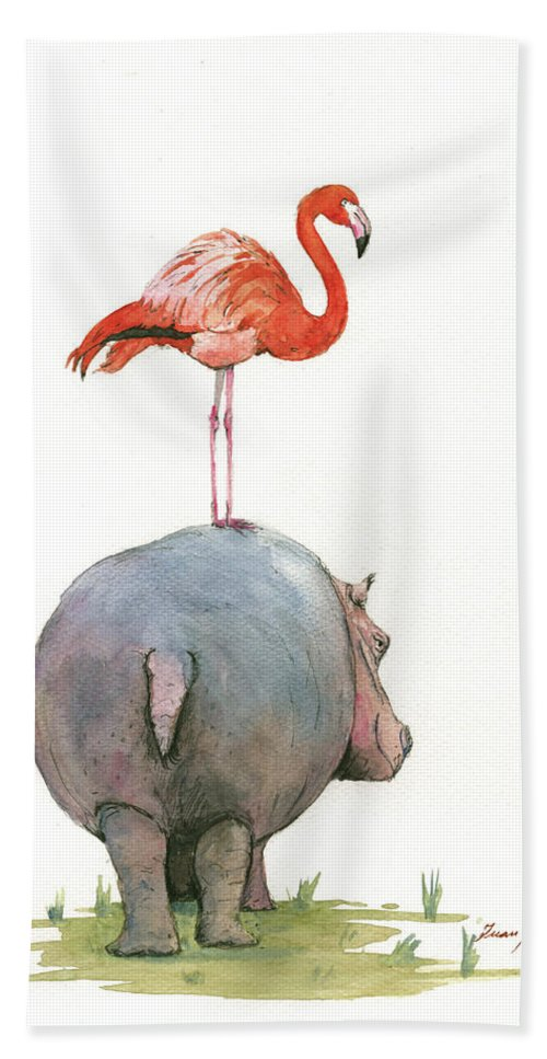 Hippo Art Hand Towel featuring the painting Hippo with flamingo by Juan Bosco