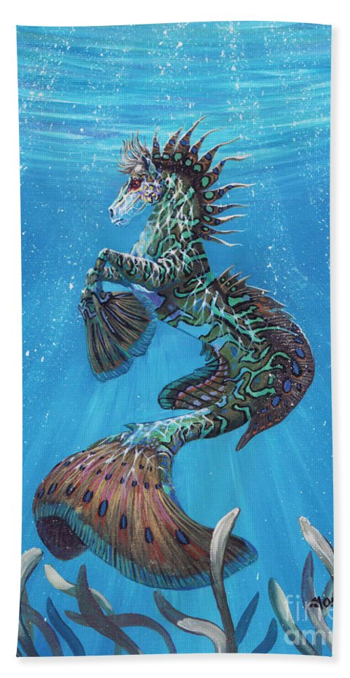 Seahorse Bath Towel featuring the painting Hippocampus by Stanley Morrison