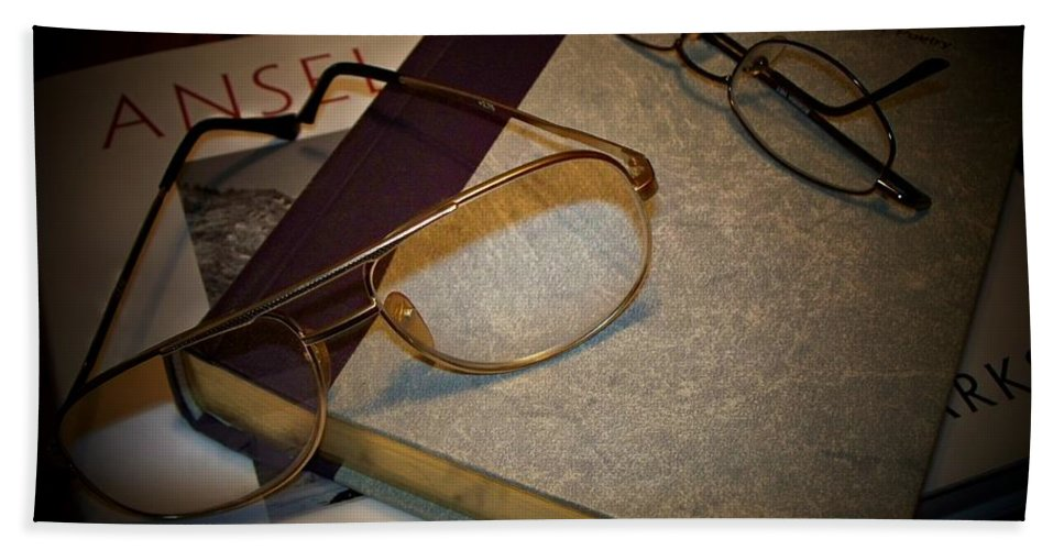 Eyeglasses Hand Towel featuring the photograph His And Hers - A Still Life by Betty Northcutt