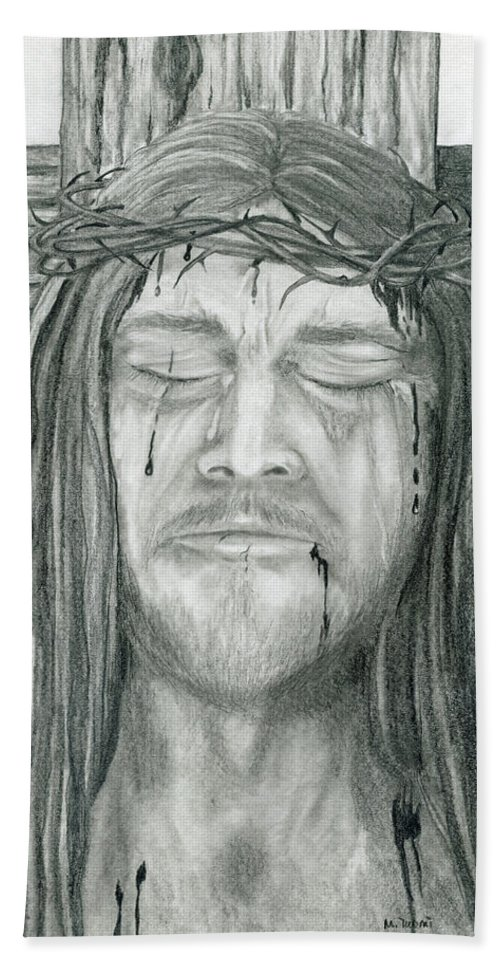 Jesus Bath Sheet featuring the drawing His Selfless Sacrifice by Mary Tuomi