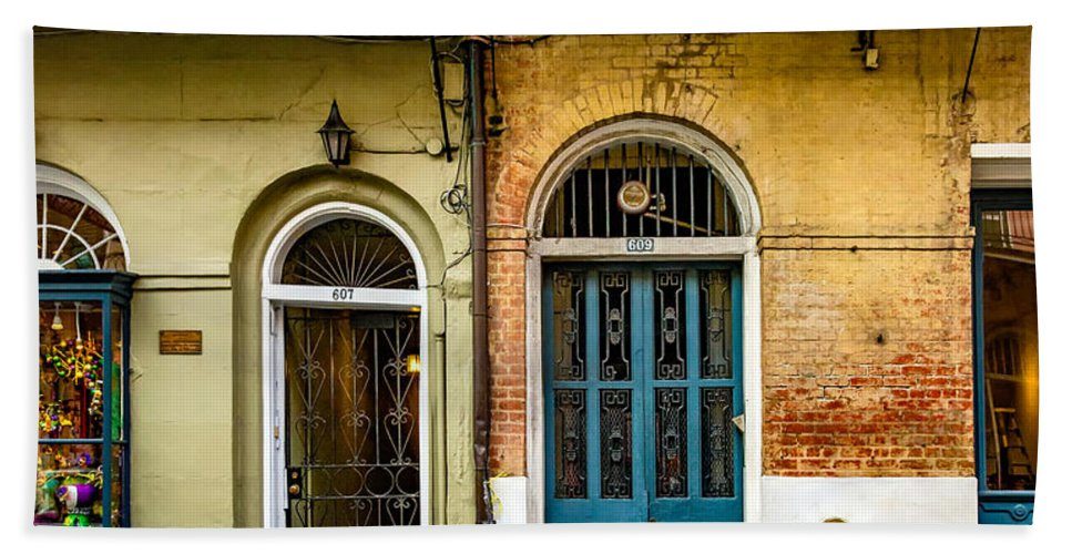 French Quarter Hand Towel featuring the photograph Historic Entrances by Steve Harrington