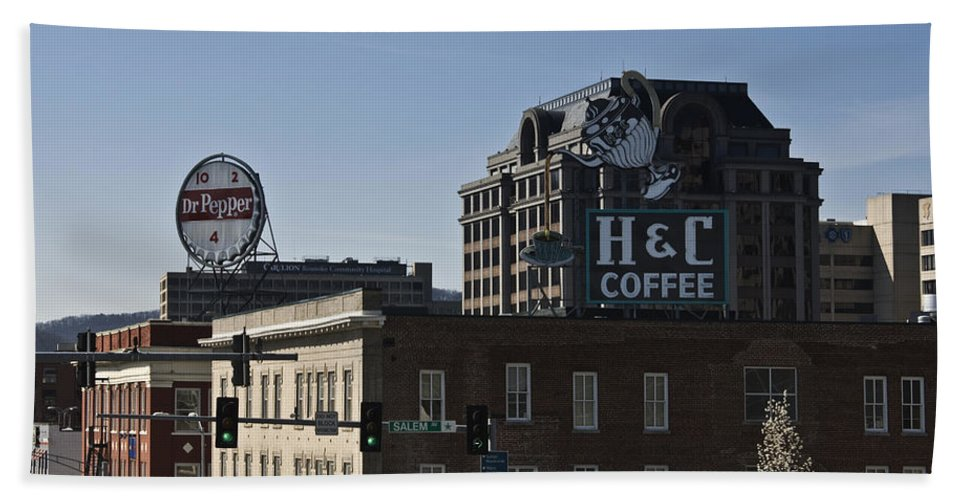 Roanoke Hand Towel featuring the photograph Historic Landmark Signs Roanoke Virginia by Teresa Mucha