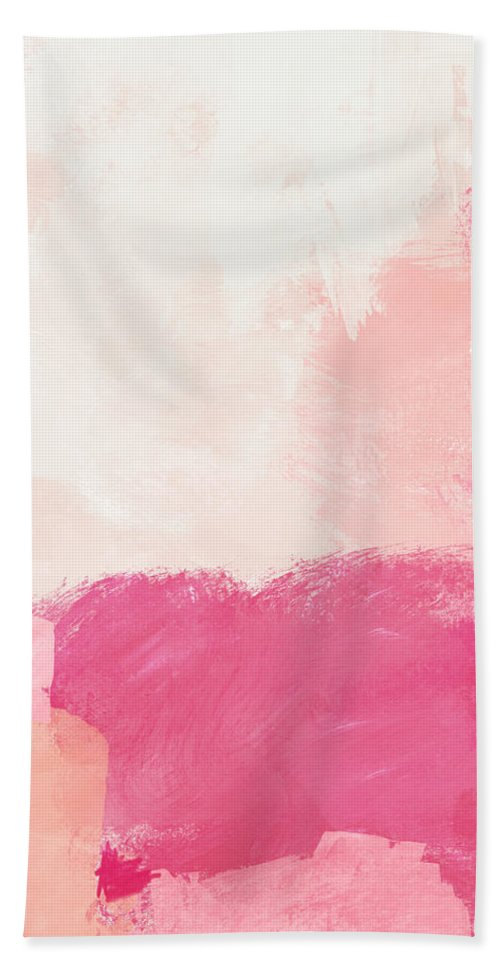 Abstract Bath Towel featuring the mixed media History of Pink- Abstract Art by Linda Woods by Linda Woods