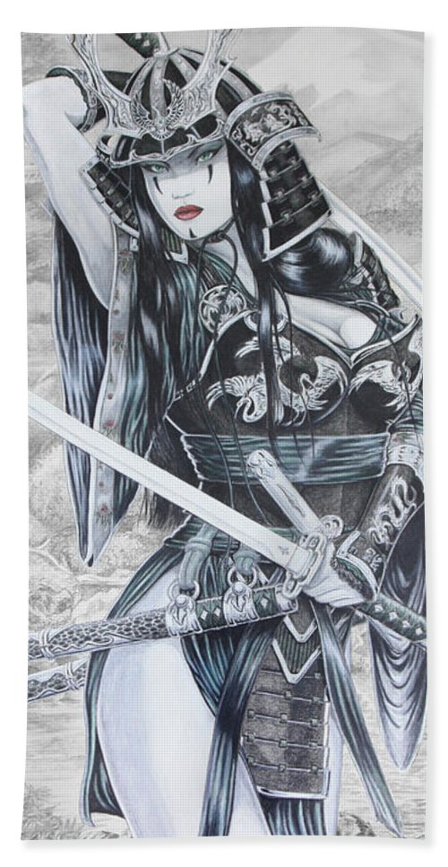 Femme Fatale Bath Towel featuring the drawing Hisuiko by Kristopher VonKaufman