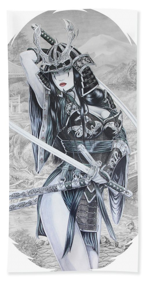 Femme Fatale Hand Towel featuring the drawing Hisuiko by Kristopher VonKaufman