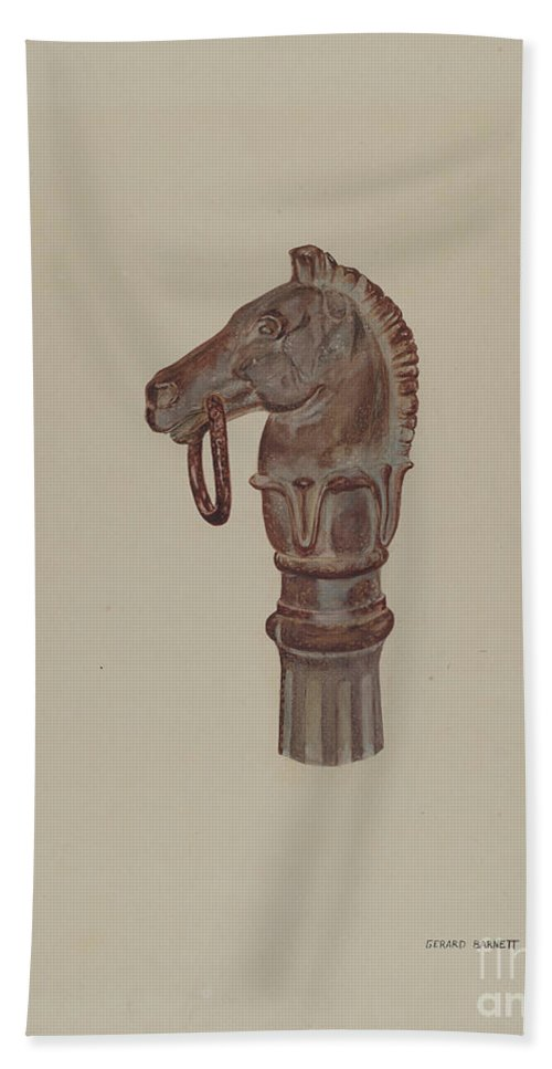 Hand Towel featuring the drawing Hitching Post by Gerard Barnett