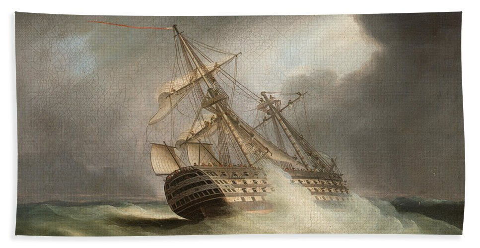 Thomas Buttersworth Bath Sheet featuring the painting H.m.s. Victory In Full Sail And In A Squall by Thomas Buttersworth