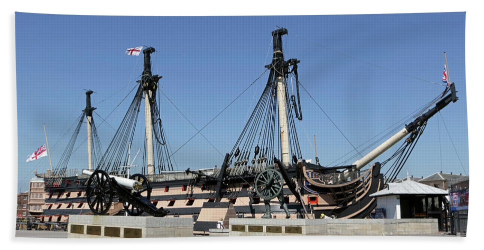 Hms Victory Portsmouth Bath Sheet featuring the photograph Hms Victory Portsmouth by Julia Gavin