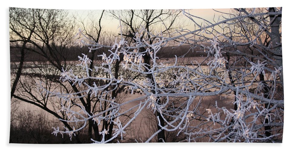 Hoar Frost Trees Lake Water Autumn Winter Ice White Cold Bath Sheet featuring the photograph Hoar Frost by Andrea Lawrence