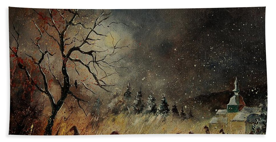 Phantasy Bath Towel featuring the painting Hobglobins At Night by Pol Ledent