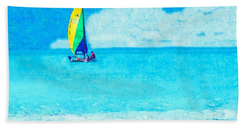 hobie Sailing Off Lido Beach Coast Hand Towel featuring the photograph Hobie Sailing Off Lido Beach Coast by Susan Molnar