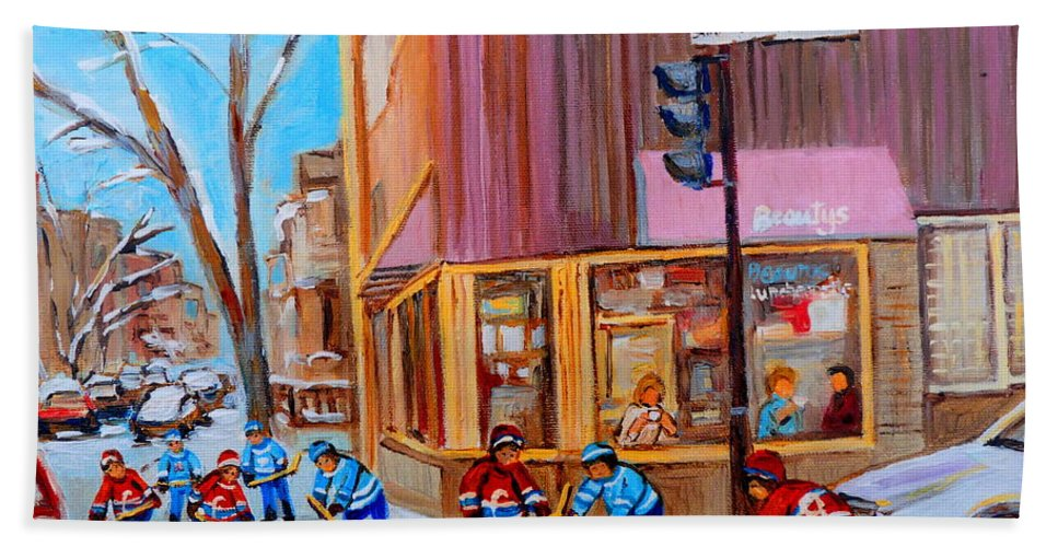 Beautys Luncheonette. Bath Towel featuring the painting Hockey At Beautys Deli by Carole Spandau