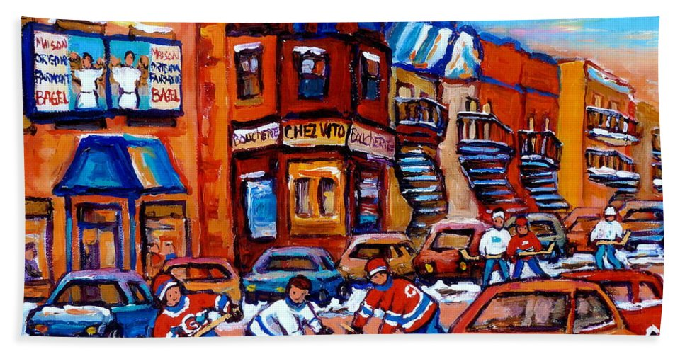 Fairmount Bagel Bath Towel featuring the painting Hockey At Fairmount Bagel by Carole Spandau