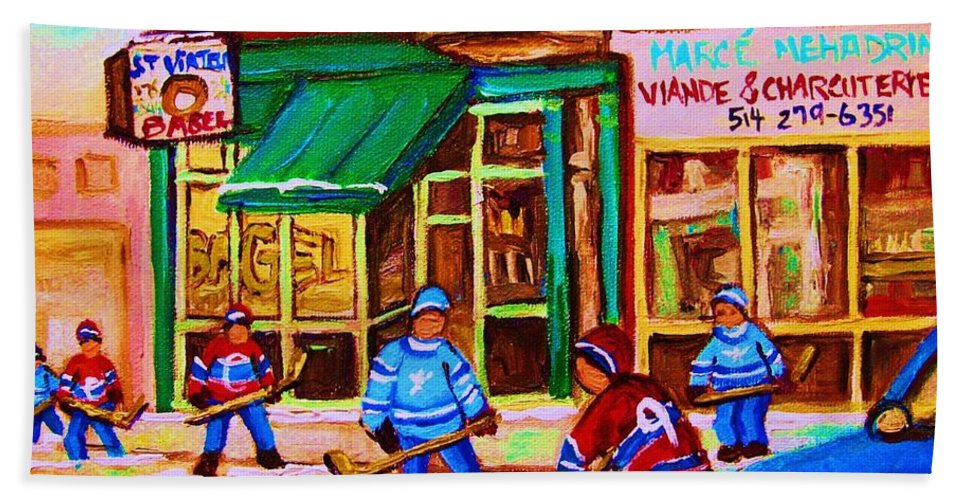 Hockey Art Bath Towel featuring the painting Hockey At Mehadrins by Carole Spandau