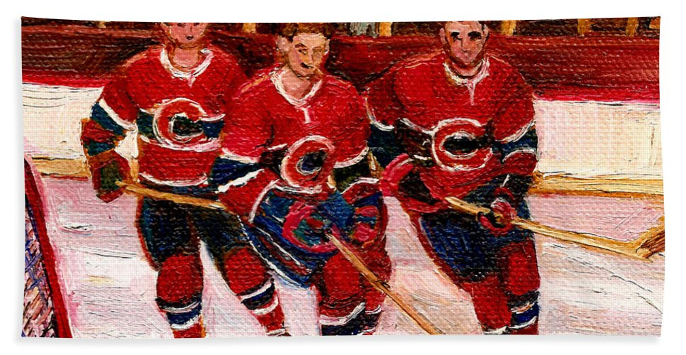Hockey Art Hand Towel featuring the painting Hockey At The Forum by Carole Spandau