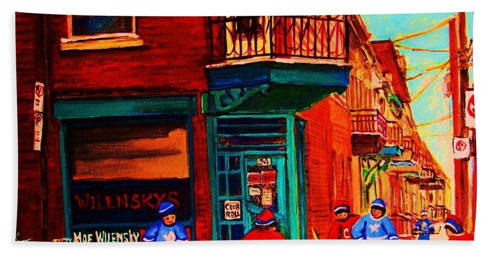 Wilenskys Bath Towel featuring the painting Hockey At Wilenskys Corner by Carole Spandau