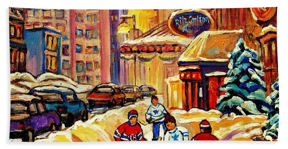 Ritz Carlton Bath Sheet featuring the painting Hockey Fever Hits Montreal Bigtime by Carole Spandau
