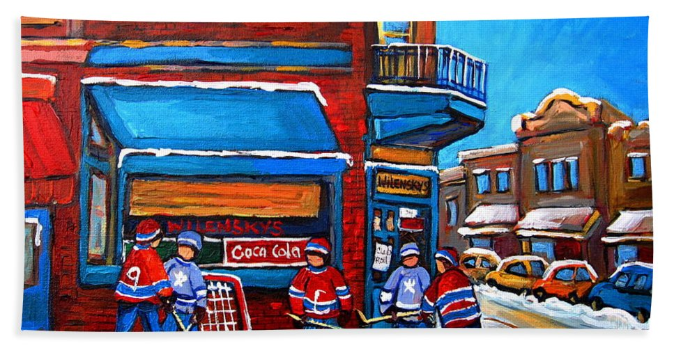 Hockey Game At Wilensky's Bath Towel featuring the painting Hockey Game At Wilensky's by Carole Spandau