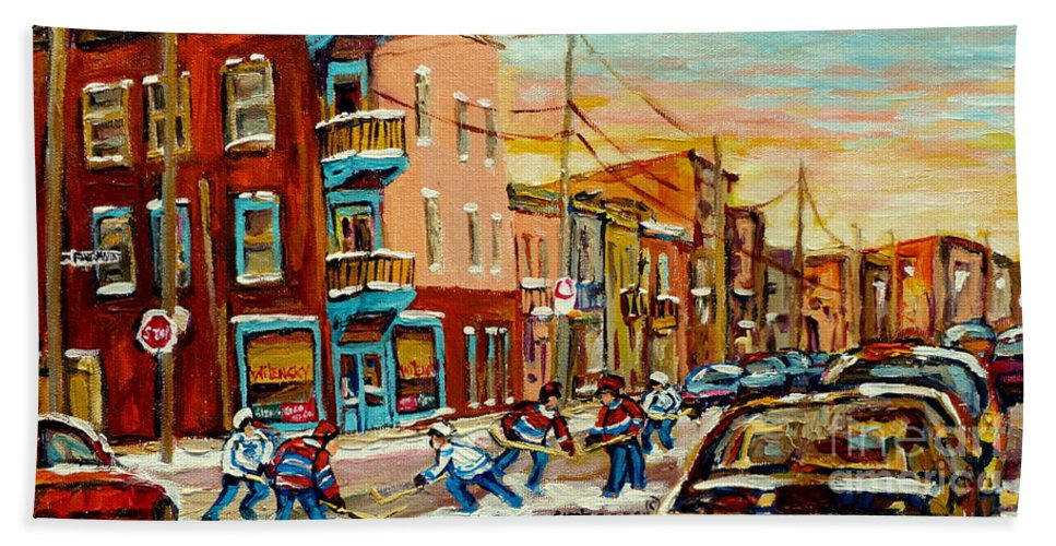 Montreal Hand Towel featuring the painting Hockey Game Fairmount And Clark Wilensky's Diner by Carole Spandau