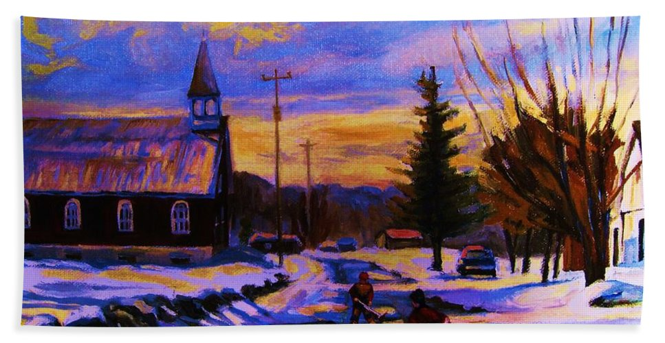Montreal Bath Towel featuring the painting Hockey Game In The Village by Carole Spandau