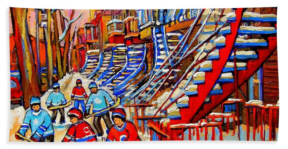 Montreal City Bath Sheet featuring the painting Hockey Game Near The Red Staircase by Carole Spandau