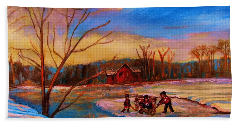 Pond Hockey Hand Towel featuring the painting Hockey Game On Frozen Pond by Carole Spandau