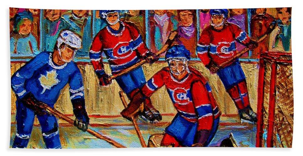 Hockey Hand Towel featuring the painting Hockey Hero by Carole Spandau