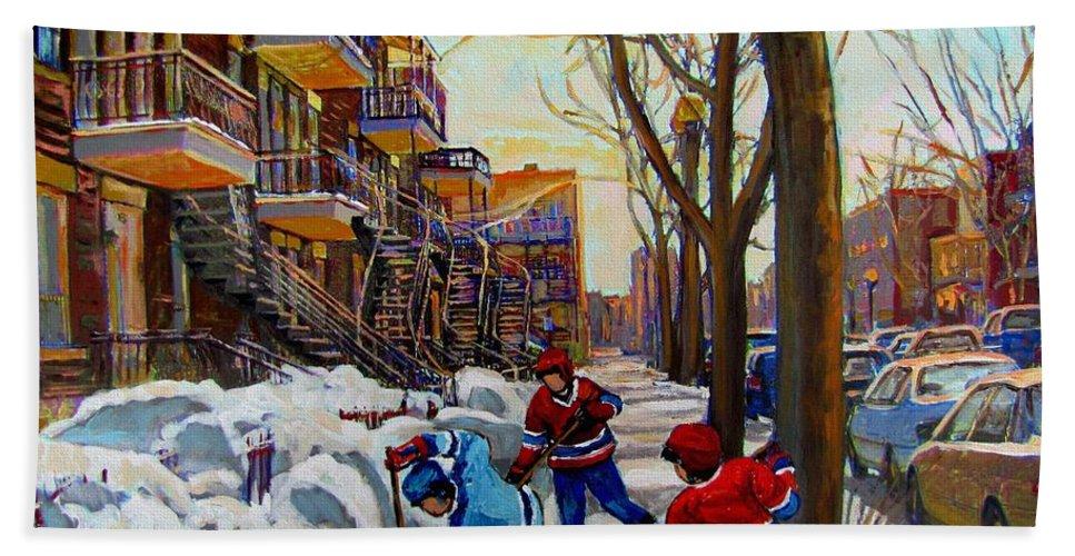 Hockey Canvas Prints Hand Towel featuring the painting Hockey On De Bullion by Carole Spandau