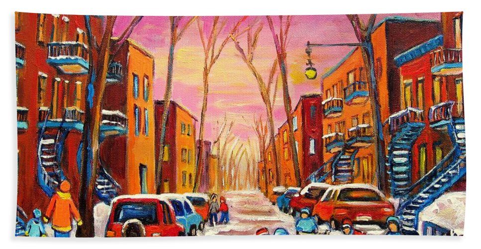 Hockey Bath Sheet featuring the painting Hockey On Hotel De Ville Street by Carole Spandau
