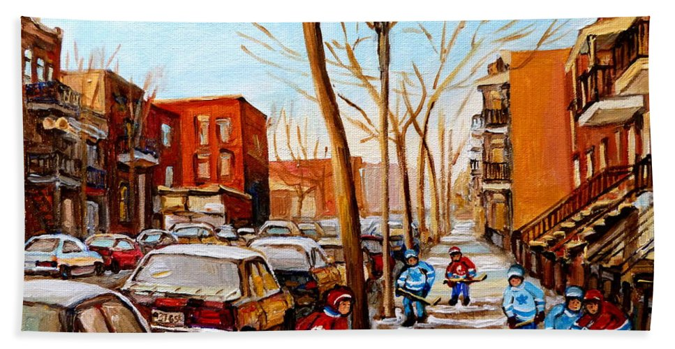 Hockey Hand Towel featuring the painting Hockey On St Urbain Street by Carole Spandau